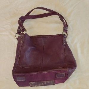 The Sak purple leather bucket hobo bag purse